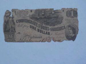 Civil War Confederate 1862 1 Dollar Bill Richmond Virginia Paper Money Note CSA