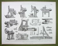 PLANING Machines Vertical Round Filing Rabbit Plane etc - 1870s Print Engraving