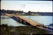 CANADA~1900's WINNIPEG MAN. ~ WOODEN PONTOON BRIDGE  RIVER PARK