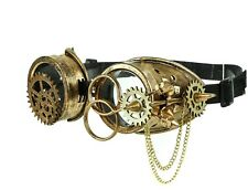 Steampunk Scissors Goggles Gear Spike Chain Punk Goth Burning man Antique Gold