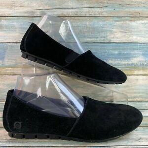 Born Sebra Womens Black Suede Flats Loafers Slip On Casual Round Toe Size 8.5M