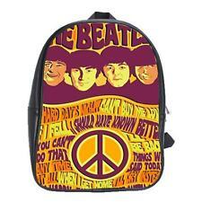The Beatles Band Vintage Backpack Leather Boys Girls School Textbook Bag Laptop