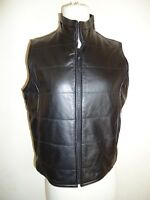 Gap Black Leather quilted motorcycle Vest Size S