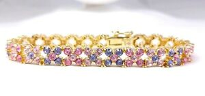 Joan Rivers Simulated Purple Tanzanite Pink Topaz Sapphire Bracelet Gold Tone