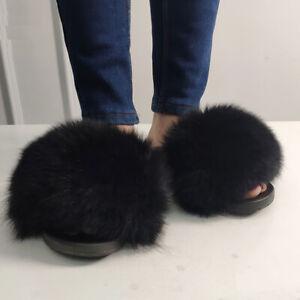 Women Fluffy Real Fox Fur Slippers Indoor Outdoor Flat Soft Summer Slides  Shoes