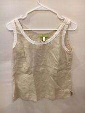 Sigrid Olsen Women's Linen TANK TOP blouse shirt top cami beige white Sz 4