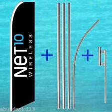 NET10 WIRELESS FLUTTER FEATHER FLAG + 15' TALL POLE + MOUNT Swooper Banner Sign