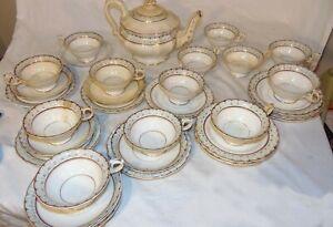 Antique EARLY19TH C English Creamware Tea Set Leeds Teapot Plates Cups Saucer