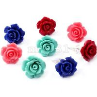 New Fashion Women Jewelry 4 Pairs Rose Flower 925 Sterling Silver Stud Earrings