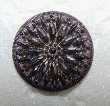 Medium Old Silver Luster Black Glass Flower Button #1403