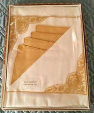 Vintage Kemp & Beatley Linen Table Cloth and Napkin Gift Set Nwt
