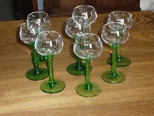 """8 très anciens verres sur pied Alsace """"fait main"""" - Ils sont tous différents"""