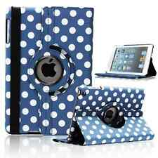 BLUE Fashion Dots Leather 360° Rotating Stand Case Cover For iPad 2/3/4 UK POST