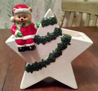 Vintage Napco Christmas Bear Star Vase Planter