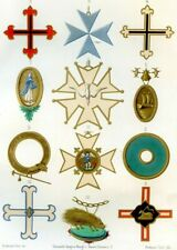 Civil, military and religious orders,12th, 16th C.Antique chromolithograph .1858
