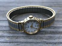 Timex Quartz Ladies Watch Double Tone Stretched Metal Band Analog Wrist Watch