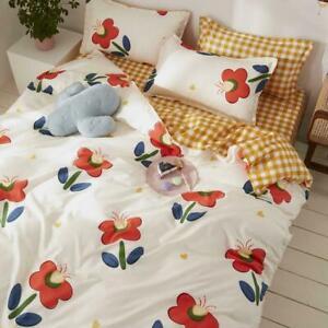 Plant Leaf Floral Plaid Stripe Duvet Cover Pillowcase Double King Set QuiltCover