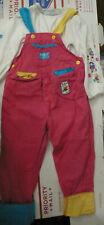 Vintage 1980s OshKosh pink overalls w colorblock cuffs, match top.Bears balloon,