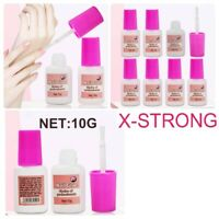 STRONG FALSE NAIL GLUE CLEAR 10g With Brush on Art Tips Acrylic 10g With Brush