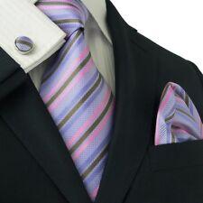 Men's Stripes Lavender 100% Silk Neck Tie Set TheDapperTie 13E