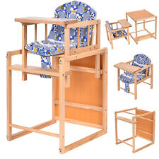 2 in 1 Solid Wooden Baby High Chair Feeding Infant Toddler Table Kids Child Home
