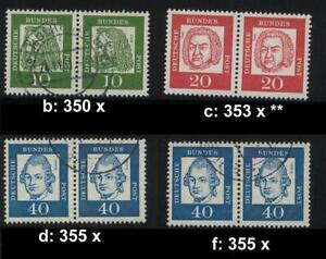 BRD 350 x, 352 x, 355 x Paare ohne Fluoreszenz gestempelt / ** ! Auswählen #a773