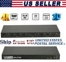 8 Port Hdmi Y Splitter 1 In To 8 Way Output Mirror Display Audio Video V 1.4 Usa