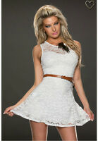 Ladies Lace Summer Skater Dress - White - Cute Casual - UK Size 8 10 12 14