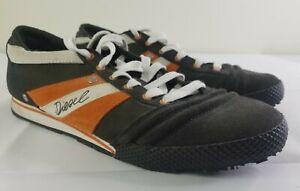 Diesel Full-Time Casual Leather Sneakers Men's 9.5 Gray Orange Stripe Shoes