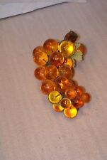 Vintage Acrylic Lucite Grape Cluster On Driftwood Approx 11`` Long