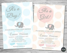 8x ELEPHANT BABY SHOWER PERSONALISED INVITATION INVITE CARD PINK SILVER BOY GIRL