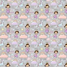 Printed Bow Fabric A4 Canvas Fairy Unicorns Rainbows Clouds Stars F1