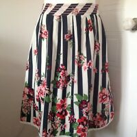 Tu Navy White Striped & Floral Pattern Pleated Flared Cotton Lined Skirt Size 18