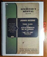 John Deere HC40 HC41 HC42 Tool Bar & Attachments for AH & GH Tractor Manual '51