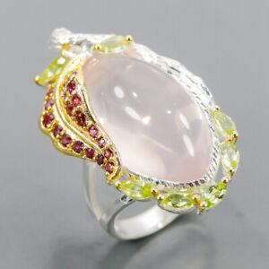Beautiful fashion Art Rose Quartz Ring Silver 925 Sterling  Size 7.5 /R163909