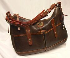 DOONEY & BOURKE Large Brown Leather Red + Orange Detail Hobo/Shoulder Bag Purse