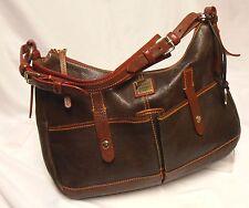 DOONEY & BOURKE Large Brown Leather Red + Orange Detail Hobo/Shoulder Bag Purse