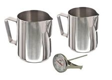 Stainless Steel Frothing Pitcher Pitchers Thermometer Set, Sizes - 12 Ounce &...