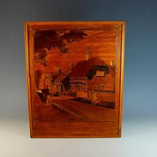 """Antique Wood Marquetry Ornate Panel - Village Scene """"Tranquility"""""""