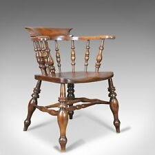 Antique Bow Chair, Smokers, Captains, English, Victorian, Elm, Windsor c.1870