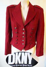 DKNY military red bolero crop short burgundy suit jacket blazer steampunk 8 80s