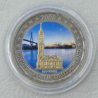 2 Euro Deutschland 2008 Michel / Hamburg in Farbe unz.