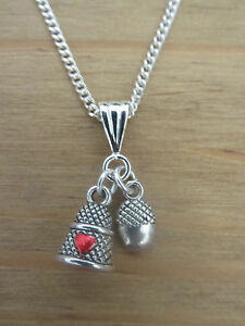PETER PAN AND WENDY KISS  THIMBLE AND ACORN NECKLACE