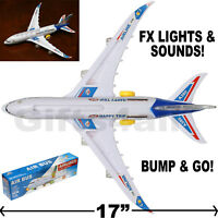 AIRBUS A380 PLANE TOY ROBUST COMMERCIAL AIRPLANE BUMP & GO FX SOUNDS LIGHTS