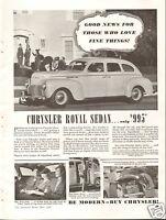 1940 Chrysler Royal Sedan LARGE Print Ad Be Modern-Buy Chrysler!