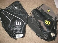 "Lot of (2) Wilson Softball/Baseball Gloves: New 12"" A12 , 11.5"" A0352 Lefties"