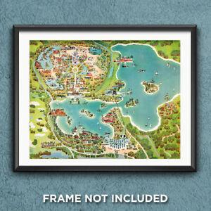 Disney World Magic Kingdom Map Print Poster 1971 Reproduction Art Decor 2818
