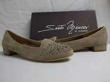 Sesto Meucci Of Florence Size 10 M Steffy Beige Suede Flats New Womens Shoes