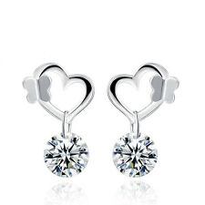Women Jewelry Elegant 925 Sterling Silver Ear Stud Earrings Butterfly Heart