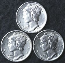 New listing 1940-P-D-S / 3 Coin Au Mercury Dime Almost Uncirculated Set
